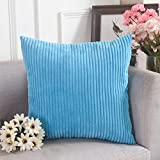 Home Brilliant Spring Decorative Soft Velvet Corduroy Striped Square Throw Pillow Cushion Cover for Couch, 18 x 18 inch(45cm), Turquoise