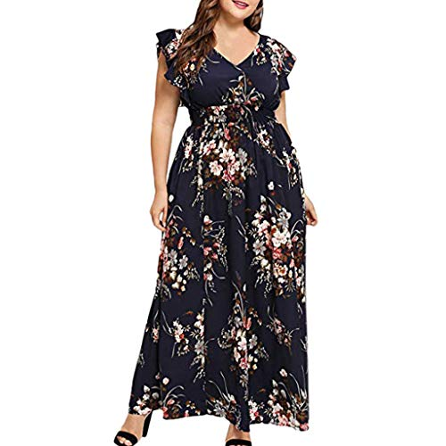 CCatyam Plus Size Dresses for Women, Skirt V Neck Boho Print Maxi Sexy Casual Party Fashion Navy
