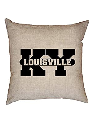 Hollywood Thread Louisville, Kentucky KY Classic City State Sign Decorative Linen Throw Cushion Pillow Case with Insert