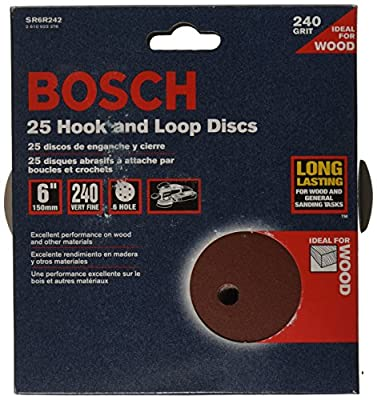 Bosch SR6R242 Random Orbit Sander Hook and Loop 6 Hole Disc 6-Inch 240 Grit Sand Paper, Red, 25-Pack