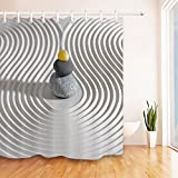 LB Asian Japanese Zen Garden Stone Shower Curtain for Shower Stall by, Oriental Zen Meditation Bathroom Decor, 70x70 Polyester Fabric Shower Curtain Waterproof Mildew Free