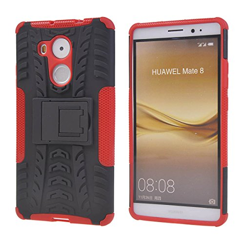 Huawei Mate 8 Funda,COOLKE Detachable 2 in 1 TPU + PC Dual Layer Rugged Case Cover with Built-in Kickstand for Huawei Mate 8 - Rojo Rojo