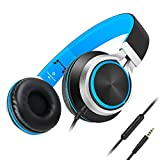 Headphones Best Deals - Headphones,AILIHEN C8 Lightweight Foldable Headphone with Microphone Mic and Volume Control for iPhone,iPad,iPod,Android Smartphones,PC,Laptop,Mac,Tablet,Headphone Headset for Music Gaming(Black/Blue)