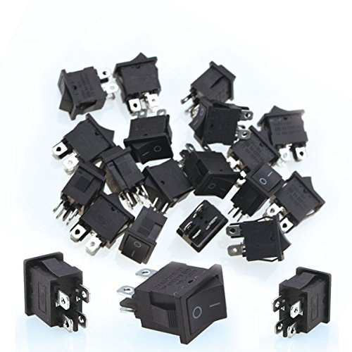 URBEST 20 Pcs Black 4 Pin On-Off 2 Position DPST Boat Rocker Switches 10A/125V 6A/250V AC for Car, Motorcycle