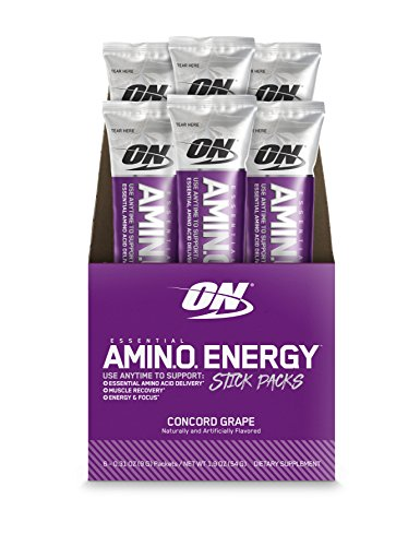 Amino Energy with Green Tea and Green Coffee Extract Individual Stick Packs, Concord Grape, 6 Count by Optimum Nutrition