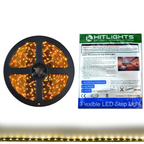 HitLights Warm White LED Light Strip, 3528-16.4' 300 LEDs, 3000K, 72 Lumens per Foot. 12V DC Tape Light