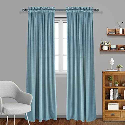 Eamior Living Room Blackout Velvet Curtains - Super Soft Dutch Velvet Rod Pocket Drapes Sound Reducing Heavy Solid Panels (Set of 2, 96