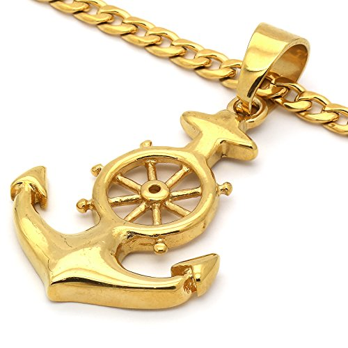Men's Gold Plated Stainless Steel Anchor Pendant with 4 mm 24