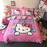 Casa 100% Cotton Brushed Kids Bedding Girls Hello Kitty Duvet Cover and Pillow Cases and Fitted Sheet,4 Piece,Full