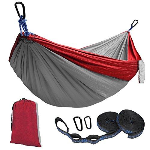 Kootek Camping Hammock Portable Indoor Outdoor Tree Hammock with 2 Hanging Straps, Lightweight Nylon Parachute Hammocks for Backpacking, Travel, Beach, Backyard, Hiking …