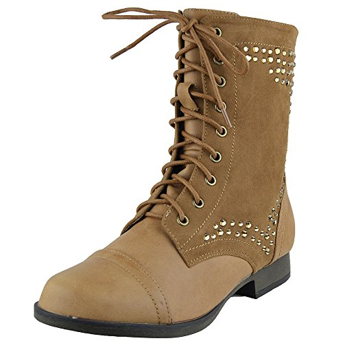 Womens Ankle Boots Rhinestone Studded Combat Lace Up Shoes