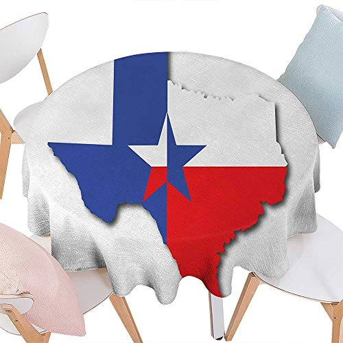 cobeDecor Texas Star Dinner Picnic Round Table Cloth Outline of The Texas Map American Southwest Austin Houston City Waterproof Round Table Cover for Kitchen D36 Vermilion White Violet Blue