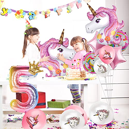 16 PCS Unicorn Balloons Bouquet for Girls 1st Birthday Party Decorations, 2 Big 43\
