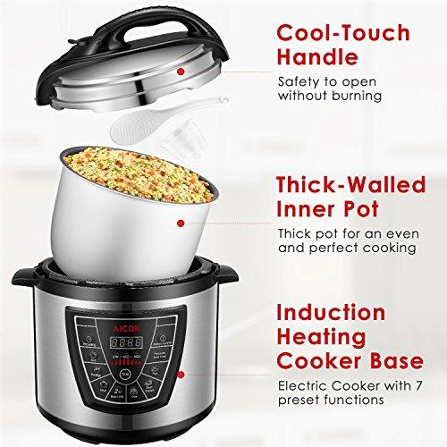 Robot de cocina Aicok 7 en 1, programable, arrocera, temporizador 24 horas, multifunción y mantenimiento del calor, olla a presión eléctrica, 6 l, 1000 W, ...