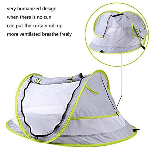 Baby Travel Tent,Portable Ultralight Folding Baby Beach Tent Pop Up UPF 50+ UV Travel Bed Cribs Protection Sun Shelter Shade for Baby Under Age 2 (Grey/Green) by Anyshock (Image #1)