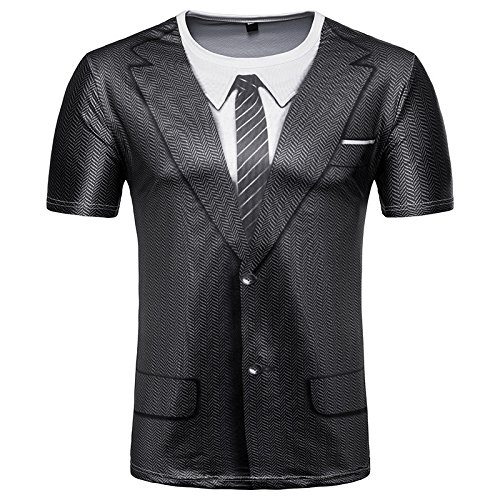 Alalaso Fake Two-Piece Printed T-Shirt Men Slim Fit 3D Short Sleeve Muscle Tee Casual Tops Blouse(Black,M)