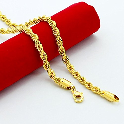Love Andara Rope Chain 4mm Golden Plated Twisted Braided Mens Hip Hop Necklace