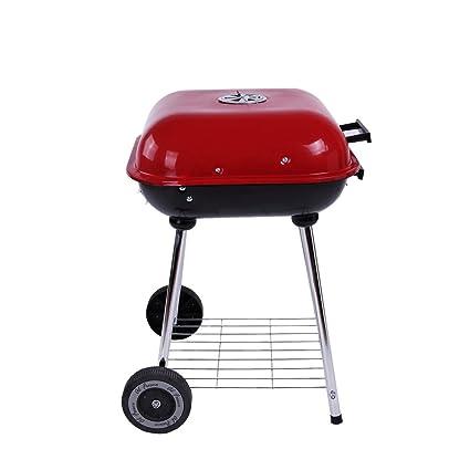 ZZ-aini Barbacoa de Carbón con Ruedas Barbecue Sin Humo, Portátil con Tapa BBQ