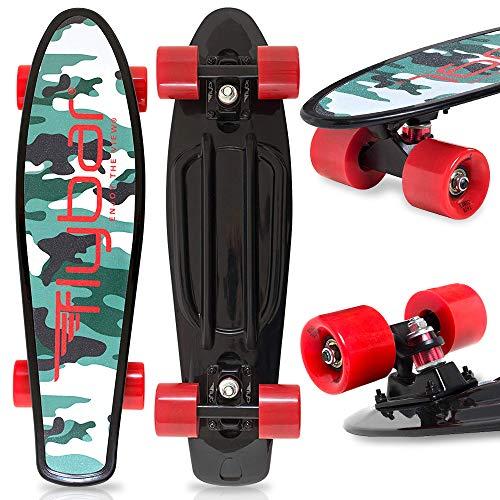 Flybar 22 Inch Complete Plastic Grip Tape Cruiser Skateboard Custom Non-Slip Deck Multiple Colors (Black)
