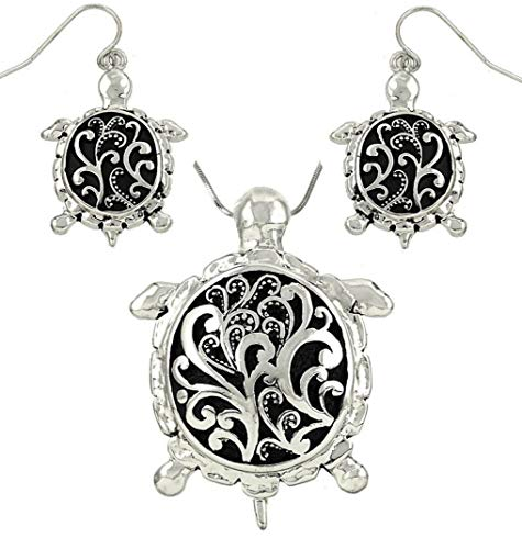 (DianaL Boutique Silver Tone Sea Turtle Pendant Necklace and Earring Set Antique Filigree Design with 21