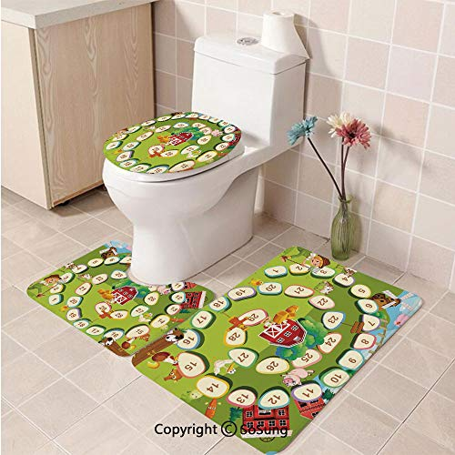 3pcs/Set Board Game Style Soft Comfort Flannel Toilet Mat,Barn Rustic Farm Landscape Vegetables Nature Cow Pig Duck Farmer Boy Cartoon Decorative,Plush Bathroom Decor Mat with Non Slip Backing,Multic]()