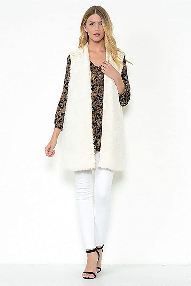 Esley Womens Ivory Fur Vest with Embroidery Detailing