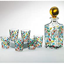7-piece Venetian Crystal Liqueur Set with Decanter and 6 Glasses
