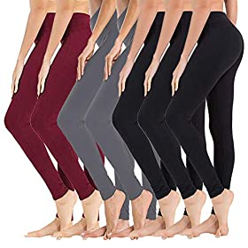 High Waisted Leggings For Women Soft Athletic Yoga Pants Reg Plus Size 7 Packblack32dark Grey2wine One Size Us 2 12