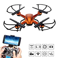 RC WiFi FPV Quadcopter Drone with HD Camera 2.4GHz 4CH 6 Axis Gyro Headless Mode,3D Flip, One Key Return Helicopter(Orange)