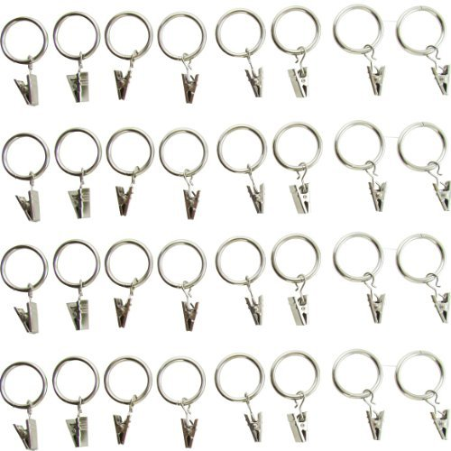 "32-pack (1"") 1 Inch Chrome or Silver Metal Curtain Rings with Clips (32 Drapery Rings with Clips)"
