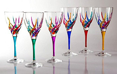 GLASSWARE - ''VENETIAN CARNEVALE'' WINE GLASS SET OF SIX - HAND PAINTED CRYST