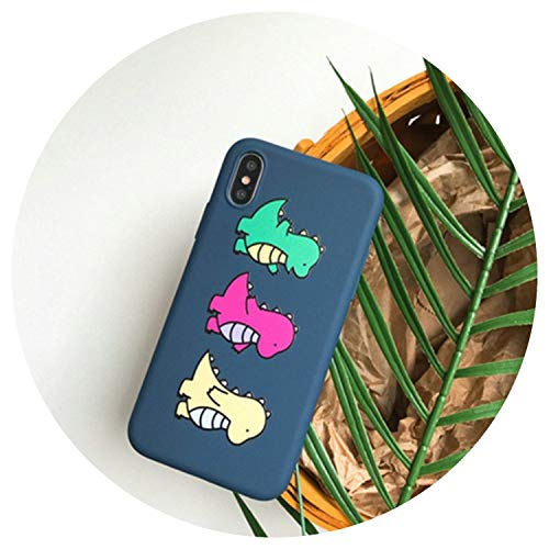 Cute Dinosaur Case for Coque iPhone 6 6 S Silicon Soft Fors iPhone 8plus Case for iPhone X 8 7 Plus 6 6Ss capinha,Navy Blue,for iPhone 7 Plus