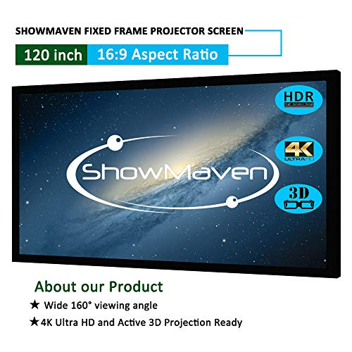 ShowMaven Fixed Frame Projector Screen, Active 3D 4K / 8K Ultra HD Home Theater Projection Projector Screen (120
