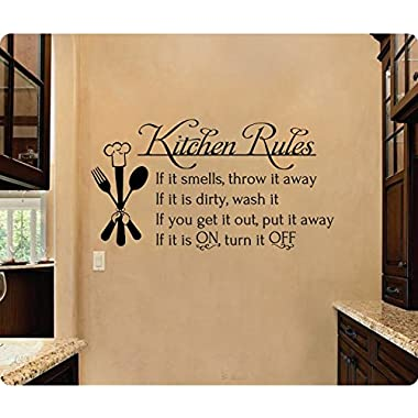 24  Kitchen Rules If It Smells Throw It Away If It Is Dirty Wash It Get It Out Put Away If On Turn Off Wall Decal Sticker Art Mural Home Décor Quote Chef Food
