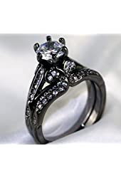 Gy Jewelry Vintage Round Zircon Black Gold Filled Women's Wedding Ring Sets Bridal Gifts