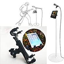 Universal 7'' to 11'' Rotating Tablet Mount, Jacksuper Holder with Bike Bicyle Mount Mic Microphone Stand Adapter for iPad 2 3 4 Mini Air all 7'' to 11'' Tablets