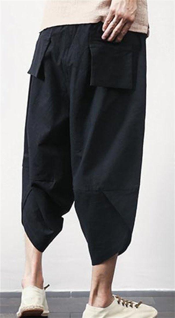 Bigbarry Mens Baggy Cozy Cotton Linen Chinese Style Sport Capri Harem Pants