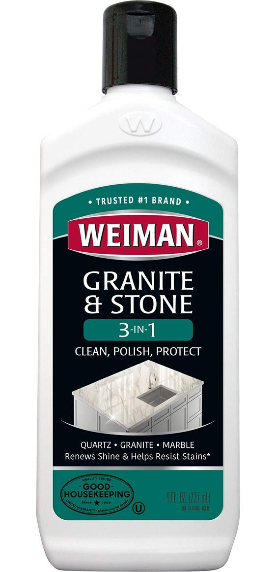Weiman Granite Cleaner and Polish - 8 Ounce - Clean, Polish and Protect Fine Granite, Quartz, Marble, Corian and All Types of Stone Countertops by Weiman