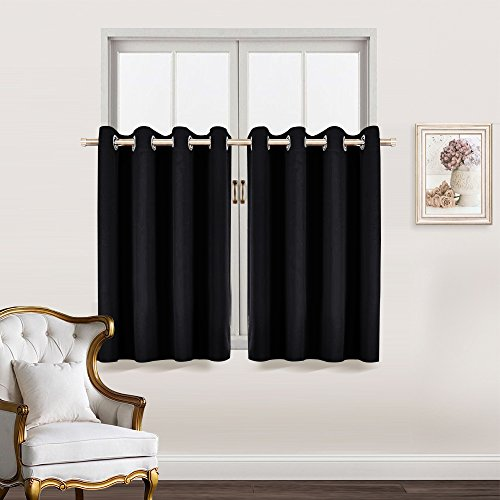 Bedroom Blackout Window Treatment Tiers - RYB HOME Versatile Short Blind Valances Energy Smart Curtain Drapes for Small / Short Windows, 52 Width by 36 Lengh - inch, Black, Set of two (Curtains Short Window)