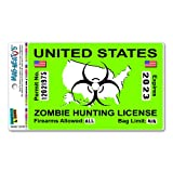 Zombie Hunting License Permit Green United States - Biohazard Response Team MAG-NEATO'S™ Automotive Car Refrigerator Locker Vinyl Magnet