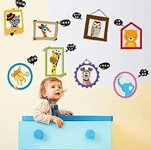 كارتون حيوانات صغيرة إطار صورة خلفية إطار صور ملصقات الحائط غرفة الأطفال ملصقات كرتون
