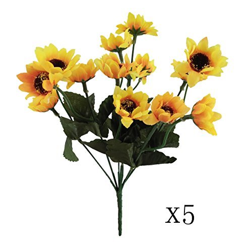 Floral Frog Candlesticks (Conjugal Bliss 5PCS High-grade Yellow Sunflower Chrysanthemum Bouquet Artificial Flowers For Home Sitting Room Bedroom Wedding Party Store Decoration Rayon Flower (yellow5))