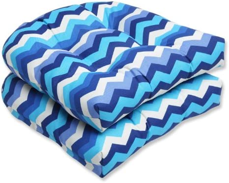 Pillow Perfect Outdoor Panama Wave Wicker Seat Cushion, Azure, Set of 2,Blue