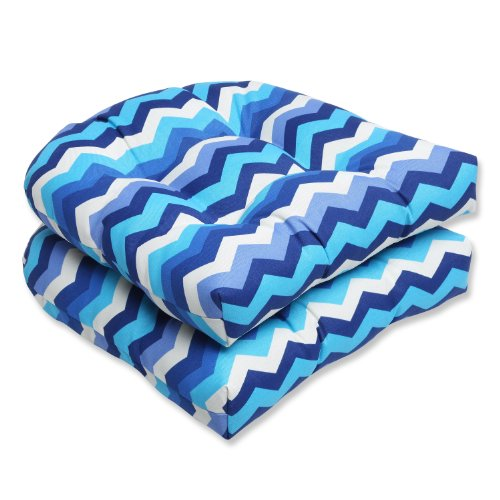 Pillow Perfect Outdoor Panama Wave Wicker Seat Cushion, Azure, Set of 2