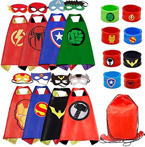 🥇 RioRand – Juego de 8 capas de superhéroe y pulseras para disfraces de niños