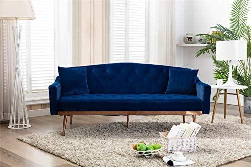Pannow Velvet Sofa Modern Convertible Futon Sofa Bed