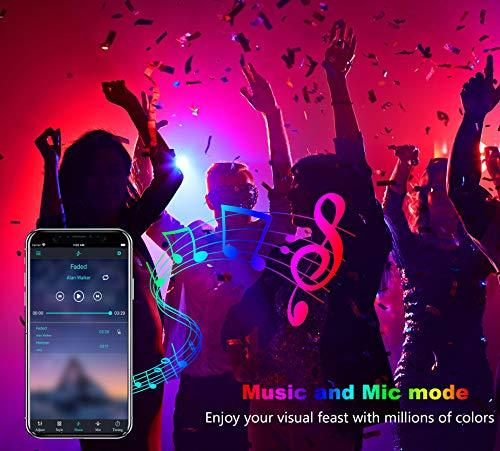 Sylvwin Ruban LED 10m,Bande LED RGB 5050 avec 40 Touches Télécommande, Contrôlé par APP du Bluetooth, Synchroniser avec Rythme de Musique pour Fête Décor pour la Maison Chambre Bar