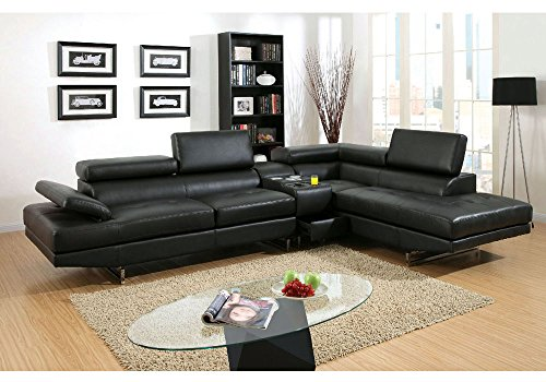 1PerfectChoice Kemi L-Shaped Sectional Sofa Gas Lift Headrests Bonded Leather Speaker Console Color Black