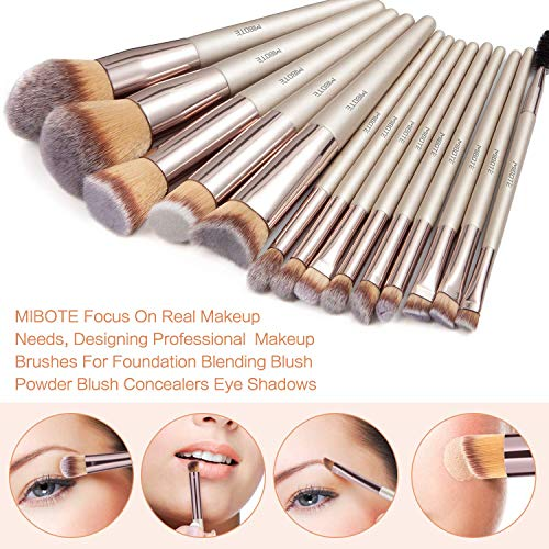 MIBOTE 20 PCs Makeup Brushes Set Professional Synthetic Foundation Blush Blending Face Powder Blush Eyeshadow Makeup Brush Kit with Makeup Sponge/Fake Eyelashes/Carrying Case and More
