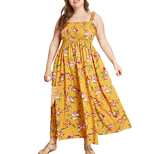 Qingell Dress Women Summer Plus Size Dress Floral Print Camisole Ruffled Dress Ladies Holiday Beach Maxi Dress Yellow